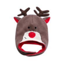 Warm Hat Knitted Hat Plus Velvet Ear Protection Hat BROWN Antlers Pattern
