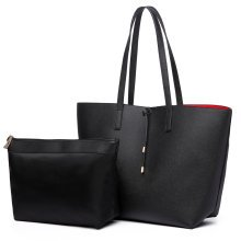 (Black 6628) Miss Lulu Faux Leather Shoulder Handbag