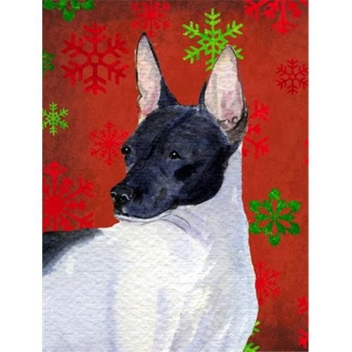 Carolines Treasures SS4687CHF 28 x 40 in. Rat Terrier Red And Green Snowflakes Holiday Christmas Flag Canvas House Size