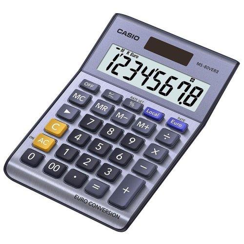 Casio 8 Digit Currency Desk Calculator With Euro Conversion (MS80VERII)
