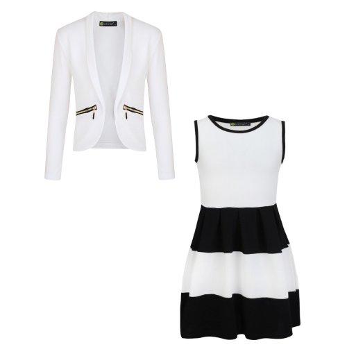 Girls Skater Dress Bundle with Zip Pockets Jacket