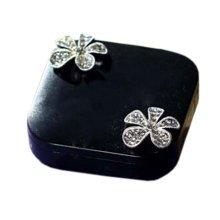 Stylish Contact Lens Case Square Lenses Holder Box Travel Kit Case Flower Black