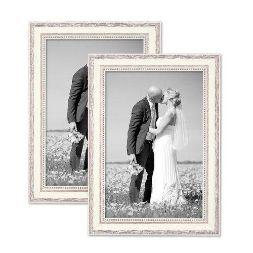 Photolini Set of 2 Picture Frames with Dimensions of 20x30 cm / 12 x 8 Inch, in White, Country-House-Style, Solid Wood, including...