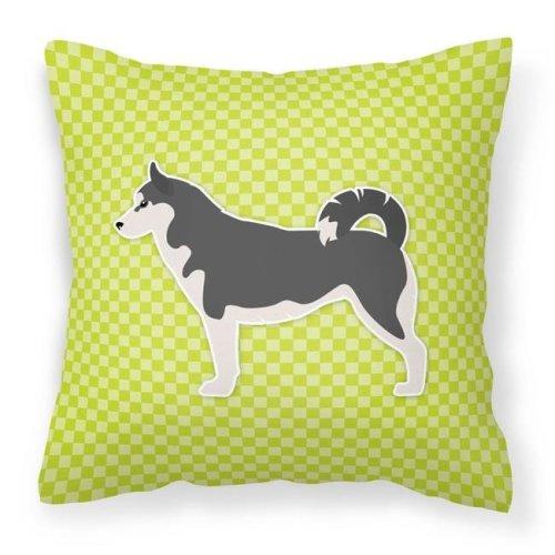 Carolines Treasures BB3880PW1414 Siberian Husky Checkerboard Green Fabric Decorative Pillow