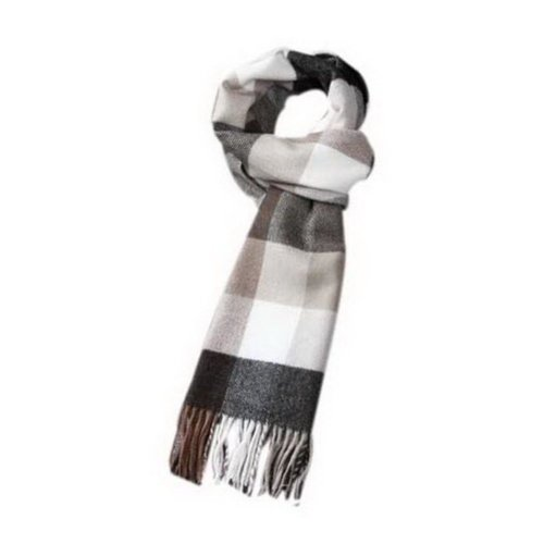 Mens Fashion Classic Scarf Black Beige Gray Checkered Style Scarf Gift For Lover