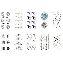 10 Sheets Fashion Body Art Stickers Removable Waterproof Temporary Tattoos ( K )