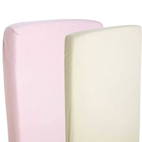 4x Fitted Sheets Compatible With Chicco Next 2 Me 100% Cotton- Pink / Cream
