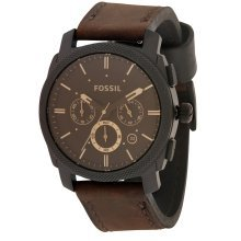 Fossil Machine Leather Chronograph Mens Watch FS4656