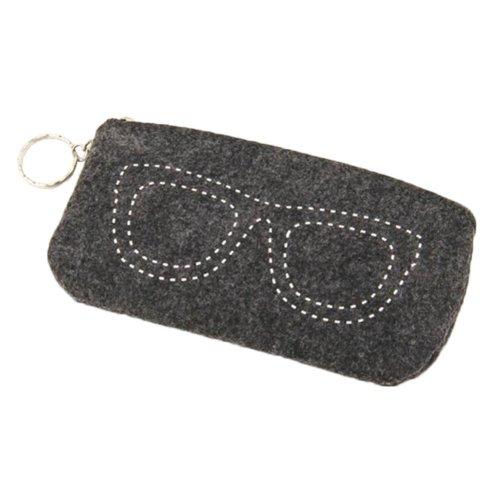 Felt Lightweight Eyeglasses Pouch Case Zipper Closure
