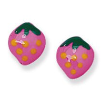 Childrens Sterling Silver Pink Strawberry Stud Earrings