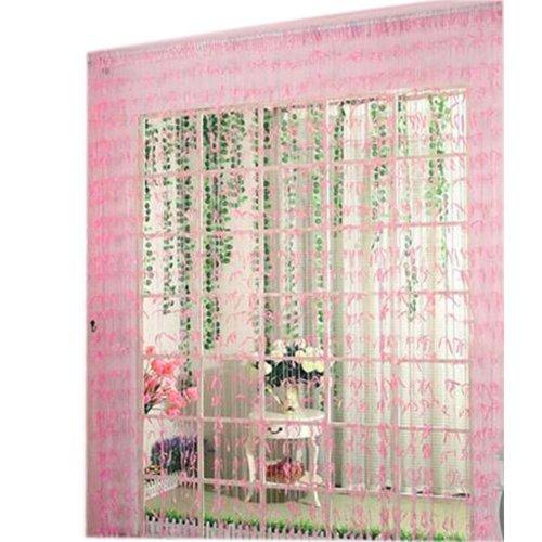 Willow Line Door String Curtain Window Panel Room Divider Strip Curtain, Pink