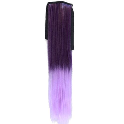 Wig Cauda Equina/Long Straight Braided Ponytail/Gradient Belt Type False(Purple)