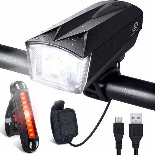 OMERIL Bike Light Set [Remote Switch], Rechargeable Bicycle Lights with 300LM Front Light, 120dB Bike Horn and 100LM Tail Light, IP65 Waterproof...