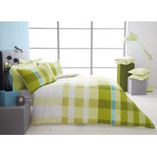Valentino green check cotton blend duvet cover