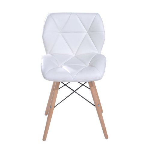 Homcom Leather Diamond Dining Chair Padded Solid Wooden Legs Lounge Furniture