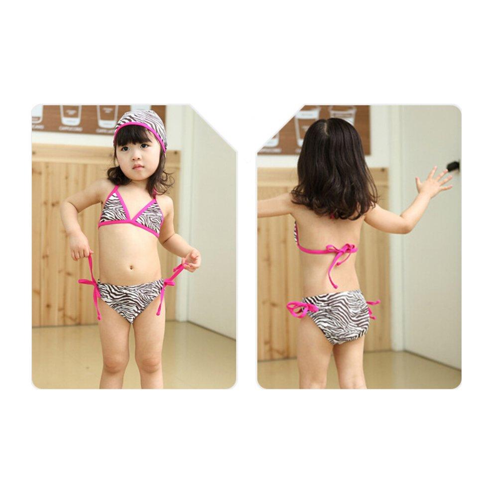 dd4d7bfcf7de ... Zebra Pattern Little Girls Swimsuit Kids Two-pieces Bikini Swimwear 5T  Rose - 1. >