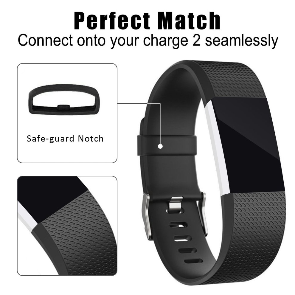Mornex For Fitbit Charge 2 Strap Bands, Adjustable Wristband Replacement  Black