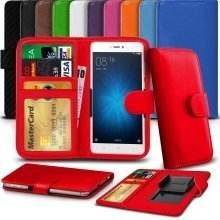 "iTronixs - BLU Life Max (5.5"") High Quality Clamp Style PU Leather Wallet Case Cover"