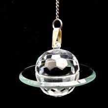 Cut Crystal Flying Saucer Hanging Window Suncatcher Ornament