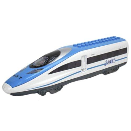 Simulation Locomotive Toy Model Trains DIY Assembles Toy, BLUE (23*5.5*4CM)
