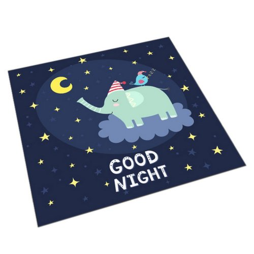 Square Cute Cartoon Children's Rugs, Good Night Cartoon Elephant
