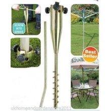 Metal Ground Spike Heavy Duty Garden Parasol Umbrella Airer Holder Stand Base