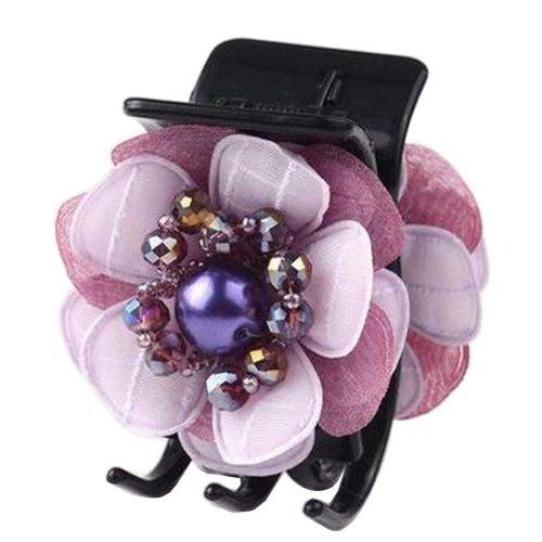 [Purple] Pretty Flower Fabric Hair Claws Hair Barrettes Claw Clips