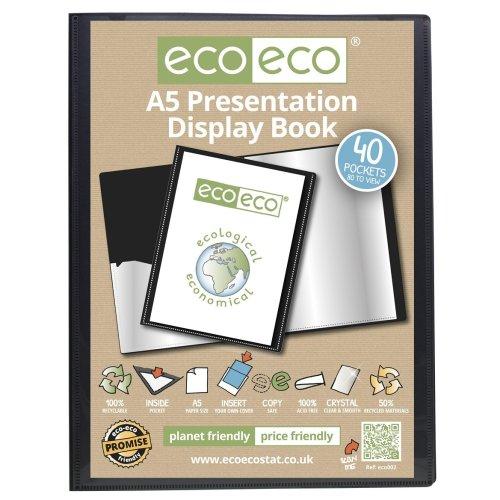 1 x A5 Recycled 40 Pocket(80 Views) Presentation Display Book - Black