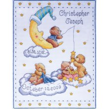"""Tobin Counted Cross Stitch Kit 11""""X14""""-Bears In Clouds Birth Record (14 Count)"""
