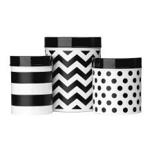 Domino Set of 3 Storage Canisters - Black/White