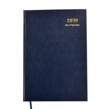 2019 Diary, A4 Day to a Page Diary Hardback Cover Blue