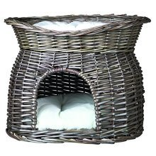 Trixie Wicker Cat Cave With Bed On Top And Cushions, 54 x 43 x 37 Cm, Grey - -  trixie wicker basket sun roof pillow grey cats new mit und item 2873