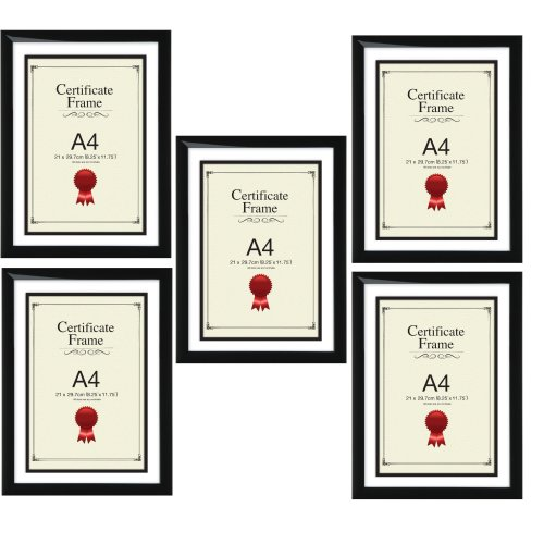 A4 Certificate Photo Picture Frame, Black x 5 Frames