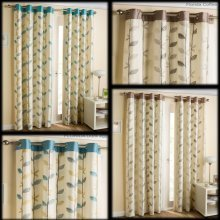 Florida embroidered leaf trail lined eyelet curtains