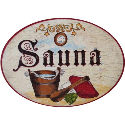 """Door Plaque Wooden """"SAUNA"""" for the Spa Area in Antique Design"""