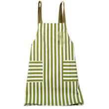 Japanese Style Cotton & linen Simple Cloth with Pocket Unisex Cooking Stripe Aprons, Green
