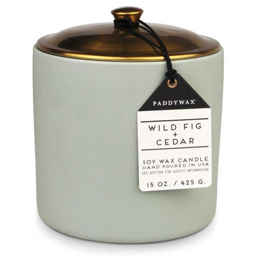 Paddywax Hygge 15oz Large Ceramic/Copper Double Wick Soy Candle Wild Fig & Cedar