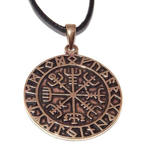 Bronze Viking Rune Compass Pendant - Vegvísir Icelandic magical stave sigil