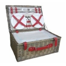 Retro Leather 4 Person Fitted Wicker Picnic Basket