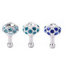 3 Pcs 3.5mm Cell Phone Universal Anti Dust Plug Diamond Dust Plug (Random Color)