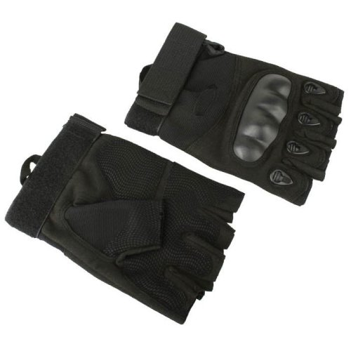 Airsoft  Fingerless Gloves Black Xl Knuckle Protection Half Finger