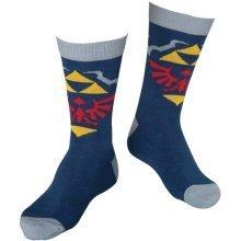 Nintendo Legend of Zelda Skyward Sword Royal Crest Men's Crew Socks, 43/46, Blue/Grey (Model No. CR090908NTN-43/46)