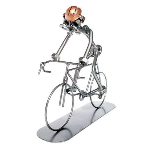 Boltmen Cyclist Sculpture - Creative Handcrafted Metal Ornament - Great Cycling Gift For Cyclists