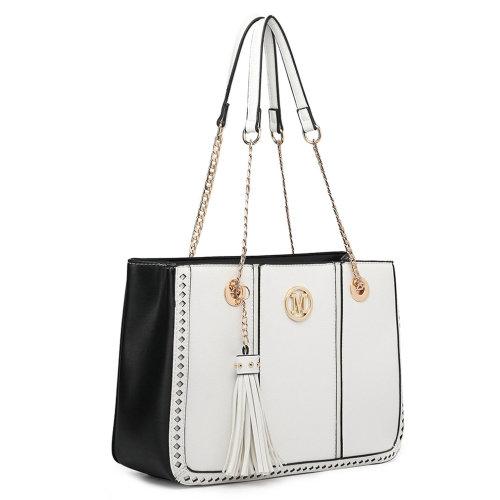 Miss Lulu Women Shoulder Bag Handbag PU Leather Tote Tassel White