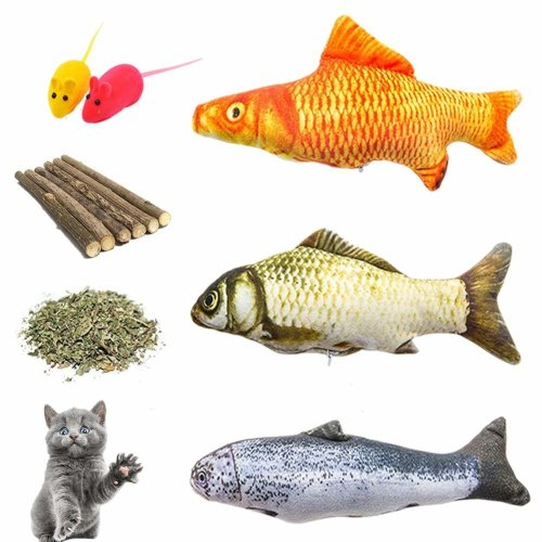 Cat Toys Catnip Toys Assortments, 3 Refillable Catnip Fish, 6 Catnip Matatabi Chew Sticks, 2 Squeaky Mouse, with Extra Catnip for Refill, Best for...