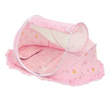Foldable  Insect Netting Cribs Mosquito Net with Mat-Pink