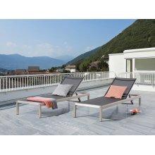 Garden Furniture - Sun Lounger - Aluminium Outdoor Furniture - Sun Bed - Black - FOSSATO