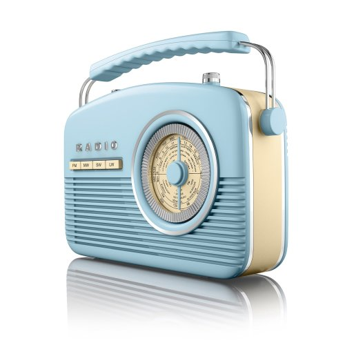 Akai A60010Bl Portable 4 Band Retro FM Radio, 14 W - Blue