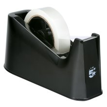 5 Star Tape Dispenser Desk Weighted Non-slip Capacity 25mm Width Black
