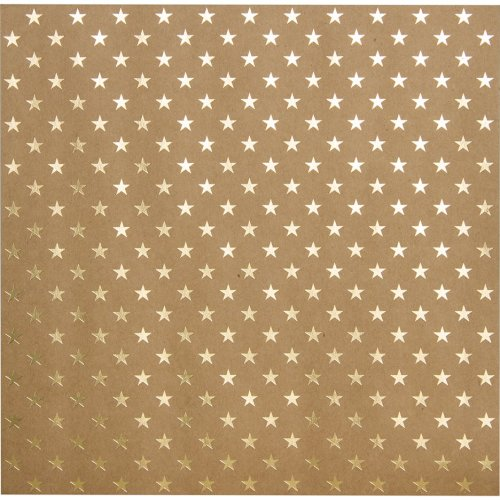 "Bazzill Foiled Kraft Cardstock 12""X12""-Gold Stars"